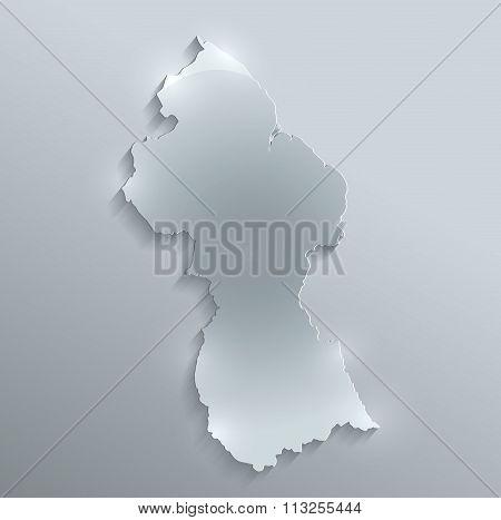 Guyana map glass card paper 3D raster