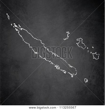 New Caledonia map blackboard chalkboard raster