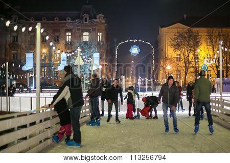 People Skating In Zagreb