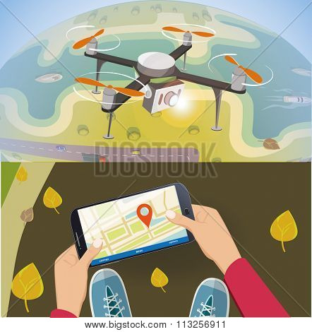 Concept for drone shooting. Delivery drone with the package over earth.  And remote contriol by smartphone.