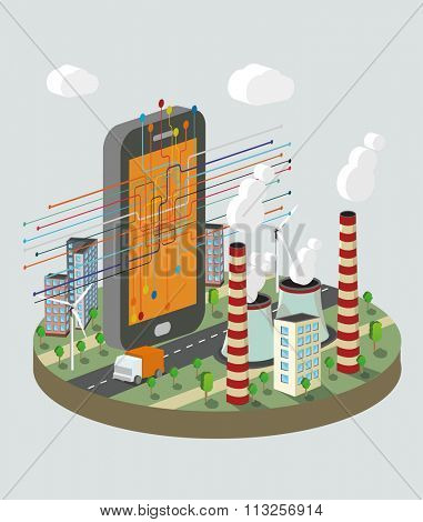 Isometric vector illustration of  smart phone with technology  scheme. Industry atomization concept.
