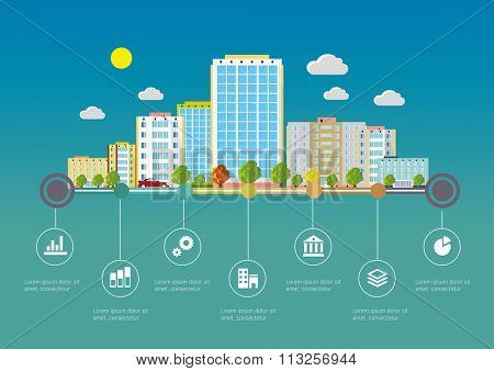 Flat design vector info graphic illustration  with urban landscape and industrial factory buildings.