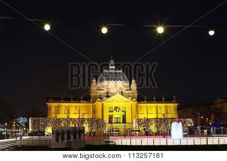 Art Pavilion Illuminated At Night