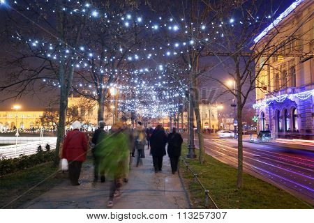 Decorated Plane Tree Alley In Zrinjevac