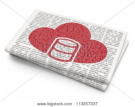 Cloud technology concept: Database With Cloud on Newspaper background