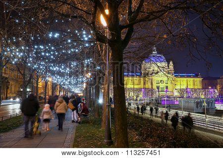 Illuminated Promenade In Zagreb