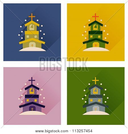 Concept of flat icons with long shadow Catholic church