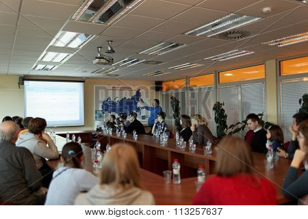 ST. PETERSBURG, RUSSIA - OCTOBER 30, 2015: Presentation of the automated mail sorting center of Russian Post during the press tour. Russian Post is a strategic enterprise with 42,000 post offices