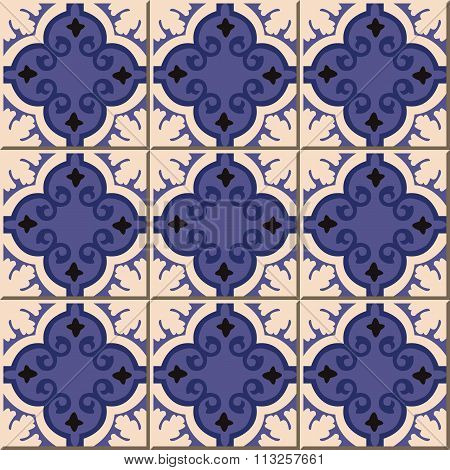 Vintage seamless wall tiles of blue curve spiral. Moroccan, Portuguese.