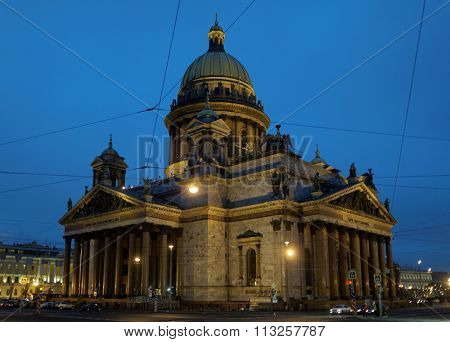 ST. PETERSBURG, RUSSIA - DECEMBER 13, 2015: Night view of St. Isaac's cathedral in winter. It is the largest orthodox basilica and the fourth largest cathedral in the world