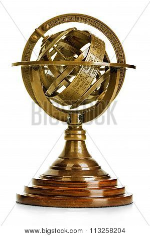 Old Vintage Brass Model Of The Solar System Isolated On White Background. Astronomical Device. Vinta