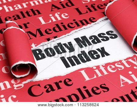Medicine concept: black text Body Mass Index under the piece of  torn paper