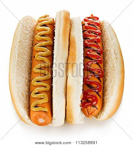 Big Tasty Appetizing Hot Dogs Close-up Isolated On A White Background. Fastfood.