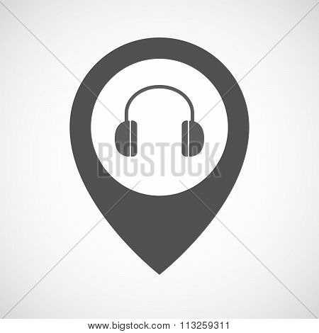 Isolated Map Marker With A Earphones