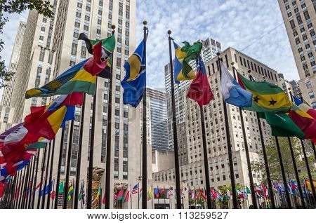 Many National Flags At Rockefeller Center In New York