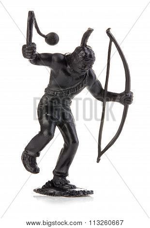 North American Indian With Mace And Bow Close-up Isolated On White . Miniature Figurine Of A Childre