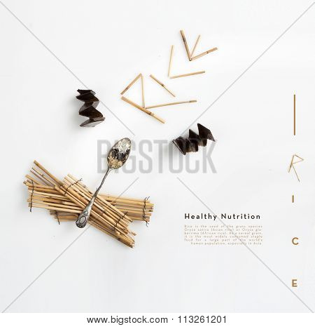 rice variety , white, brown and wild , conceptual minimal presentation