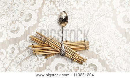 unique artistic image of rice variety on vintage spoon , on a beautiful vintage background