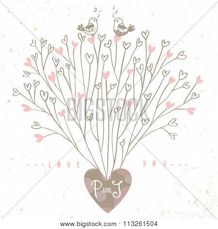 Tree hearts design
