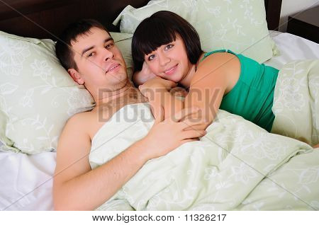 young couple had just woken up