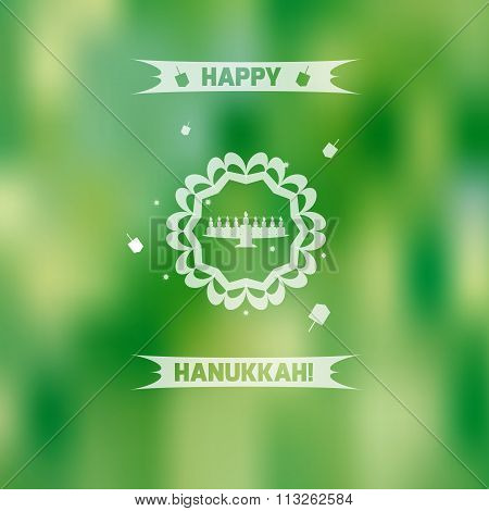Flat hanukkah menorah on green blurred background