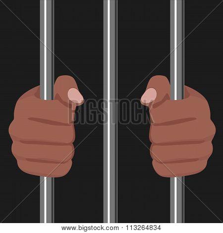 african american locked behind bars