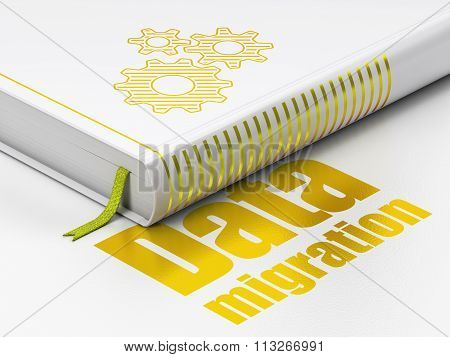 Information concept: book Gears, Data Migration on white background