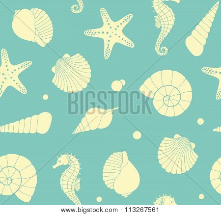Seamless background with marine life