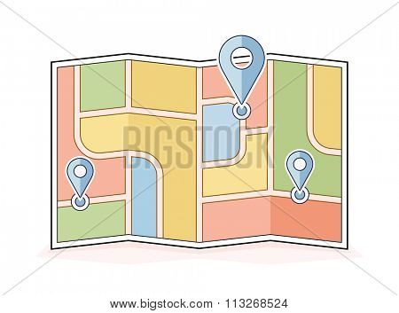 Abstract city map with pointers. Navigation and route illustration. Vector icon for address and contact web page