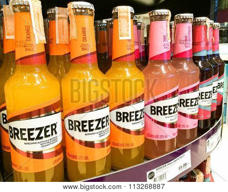 Bangkok, Thailand - November 11, 2015: Bacardi Breezer Bottle On Shelf In Supermarket. Bacardi Breez