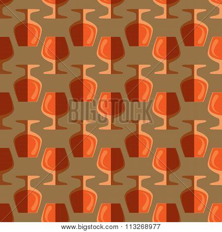 Pop Art Cognac Glass Seamless Pattern.
