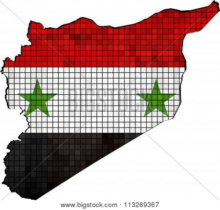 Syria Map With Flag Inside.eps