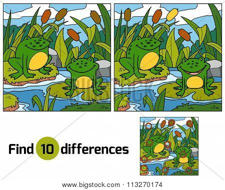 Find Differences, Game For Children (two Frogs And Background)