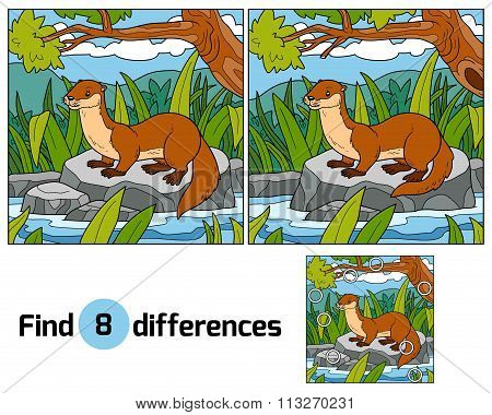Find Differences, Game For Children (otter And Background)