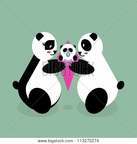 Family panda bears with a newborn baby. Mother, father, daughter, son. mothers Day Vector