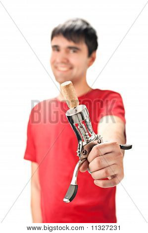 A Smiling Man With Cork Screw