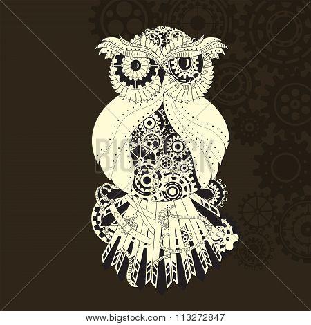 Steampunk outline vector owl with gear. Metallic steam punk owl