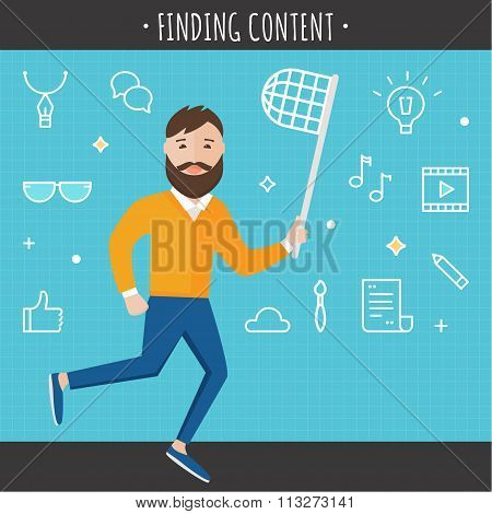 Man with Butterfly Net Surrounded by Internet Icons. Finding Content Concept Illustration.