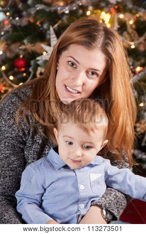 Baby Boy And Mommy, Christmas Portrait