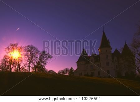 The Andrassy Castle at sunset in Tiszadob, Hungary