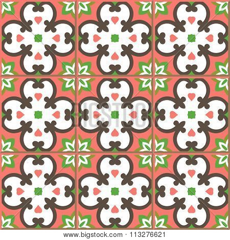 Vintage seamless wall tiles of round curve cross flower kaleidoscope. Moroccan, Portuguese.