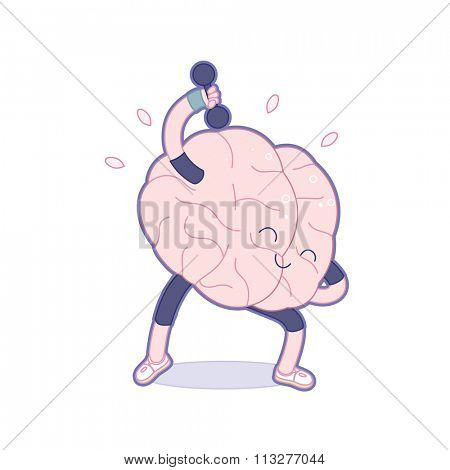 Train your brain series - outlined vector illustration of brain activity, dumbbell exercises. Part of a Brain collection.