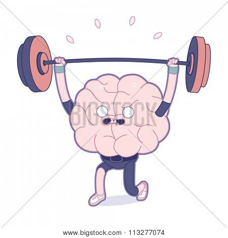 Train your brain series - outlined vector illustration of brain activity, weightlifting. Part of a Brain collection.