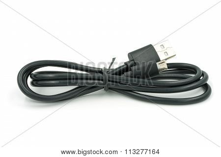 Micro Usb Cable On White Background.
