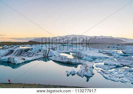 Icebergs In Jokulsarlon Glacial Lake At Sunset, Iceland