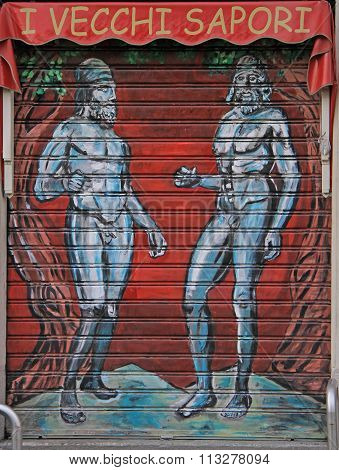 illustration on the entrance to restaurant in Milan, Italy