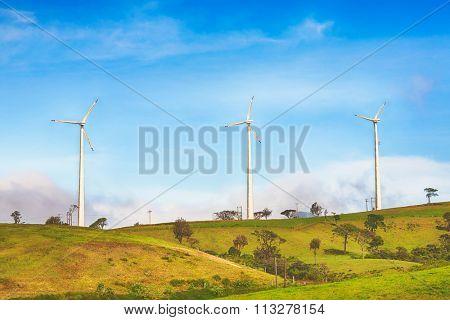 Horizontal Axis Wind Turbines near Nuwara Eliya. Sri Lankda