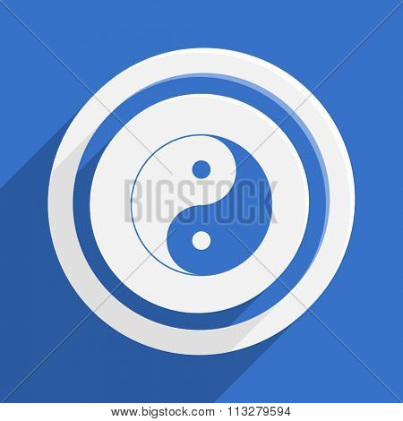 ying yang blue flat design modern vector icon for web and mobile app