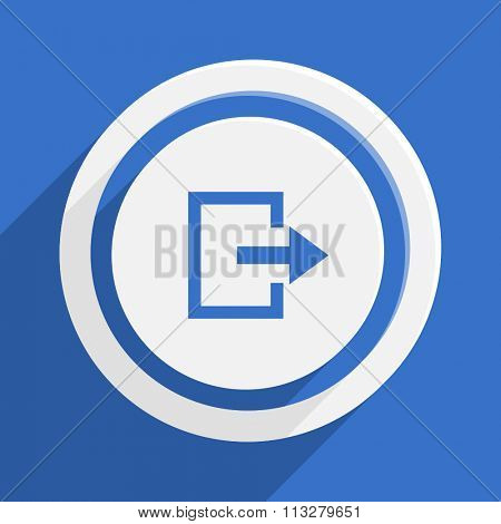 exit blue flat design modern vector icon for web and mobile app