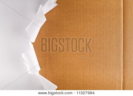 Torn Packaging Paper on Cardboard Box